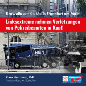"""Read more about the article Krawalle zum 01. Mai: """"Linksextremen Sumpf trockenlegen"""""""