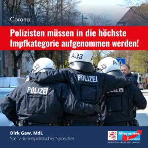 Read more about the article Corona: Polizisten müssen in die höchste Impfkategorie aufgenommen werden.