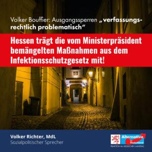 "Read more about the article Volker Bouffier nennt Ausgangssperren ""verfassungsrechtlich problematisch"""