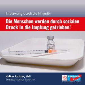 Read more about the article Impfzwang durch die Hintertür: Landesregierung baut sozialen Druck auf!