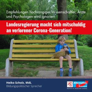 "Read more about the article ""Landesregierung macht sich mitschuldig an verlorener Corona-Generation"""
