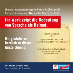 Read more about the article AfD gratuliert Herta Müller zum Jacob-Grimm-Preis Deutsche Sprache 2021