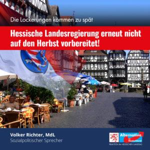 Read more about the article Die Lockerungen kommen zu spät – Hessische Landesregierung erneut nicht auf den Herbst vorbereitet.