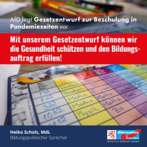 Read more about the article AfD legt Gesetzentwurf zur Beschulung in Pandemiezeiten vor.