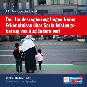 Read more about the article Der Landesregierung liegen keine Erkenntnisse über Sozialleistungsbetrug von Ausländern vor!