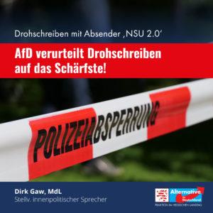 Read more about the article AfD verurteilt Drohschreiben auf das Schärfste!