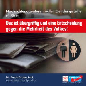 Read more about the article Nachrichtenagenturen wollen Gendersprache einführen!