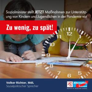 """Read more about the article Unterstützung von Kindern und Jugendlichen in der Pandemie: """"Zu wenig, zu spät!"""""""