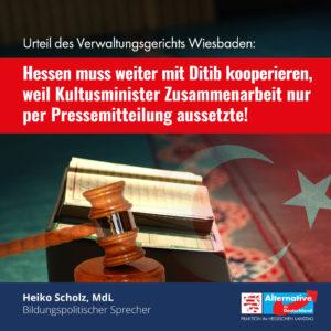Read more about the article Verwaltungsgericht Wiesbaden: Hessen muss weiter mit Ditib kooperieren!