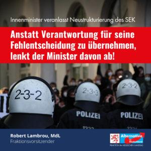 """Read more about the article """"Neustrukturierung des SEK soll von Fehlentscheidung des Ministers ablenken"""""""