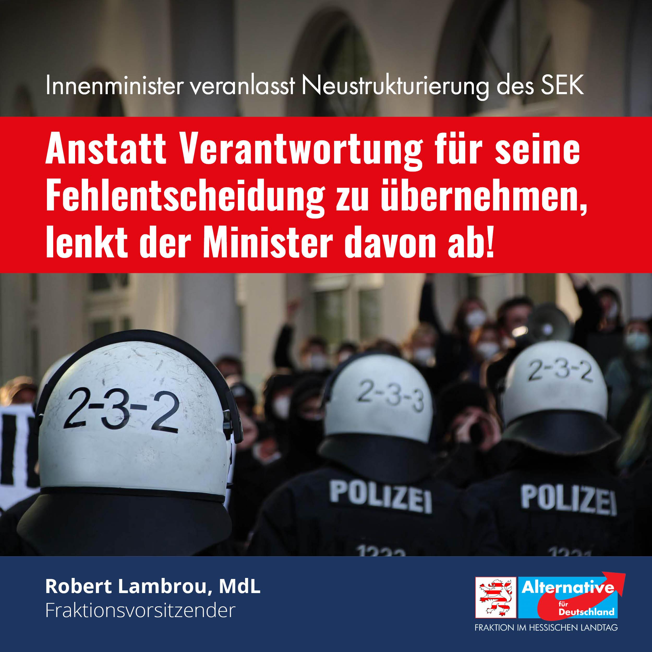"""You are currently viewing """"Neustrukturierung des SEK soll von Fehlentscheidung des Ministers ablenken"""""""