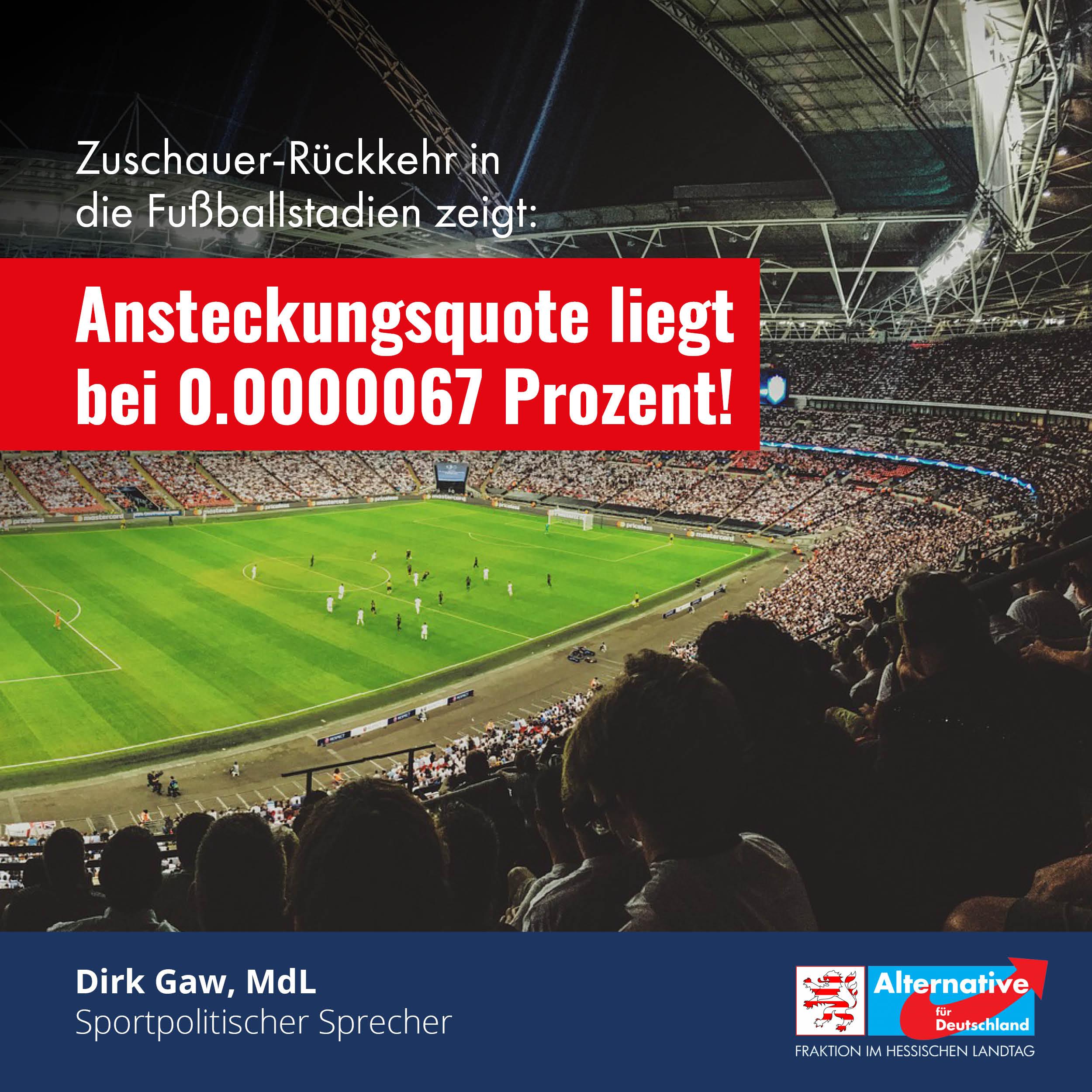 Read more about the article Zuschauer-Rückkehr in die Fußballstadien zeigt: Ansteckungsquote liegt bei 0.0000067 Prozent!