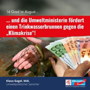 """Read more about the article Trinkwasserbrunnen gegen """"Klimakrise"""" bei 14 Grad im August"""