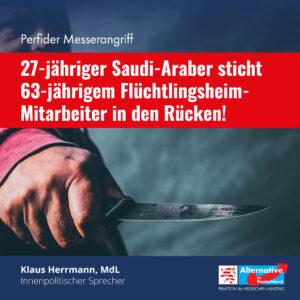 Read more about the article Perfider Messerangriff: 63-Jährigem Flüchtlingsheim-Mitarbeiter in den Rücken gestochen